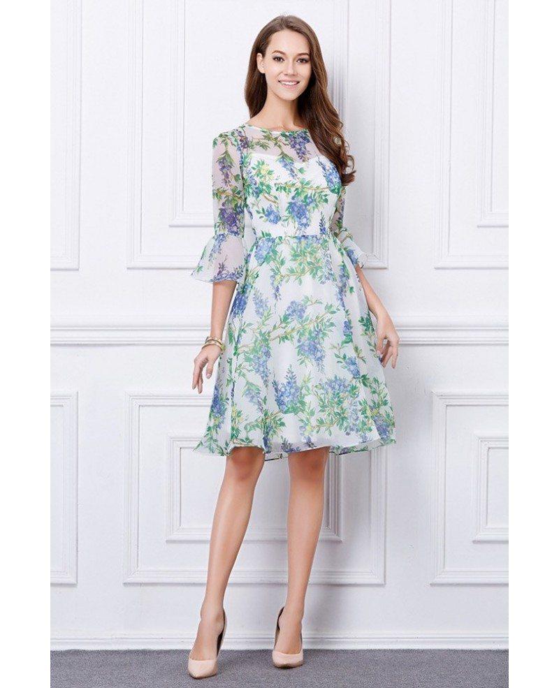 Summer Floral Printe A-Line Chiffon Knee-Length Wedding Guest Dress ...