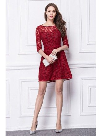 Chic A-Line Lace Short Wedding Party Dress With Sleeves