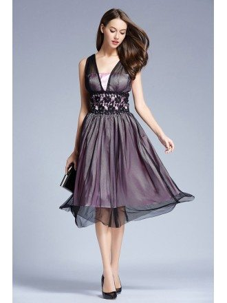Elegant Tulle Knee-Length Wedding Party Dress With Lace