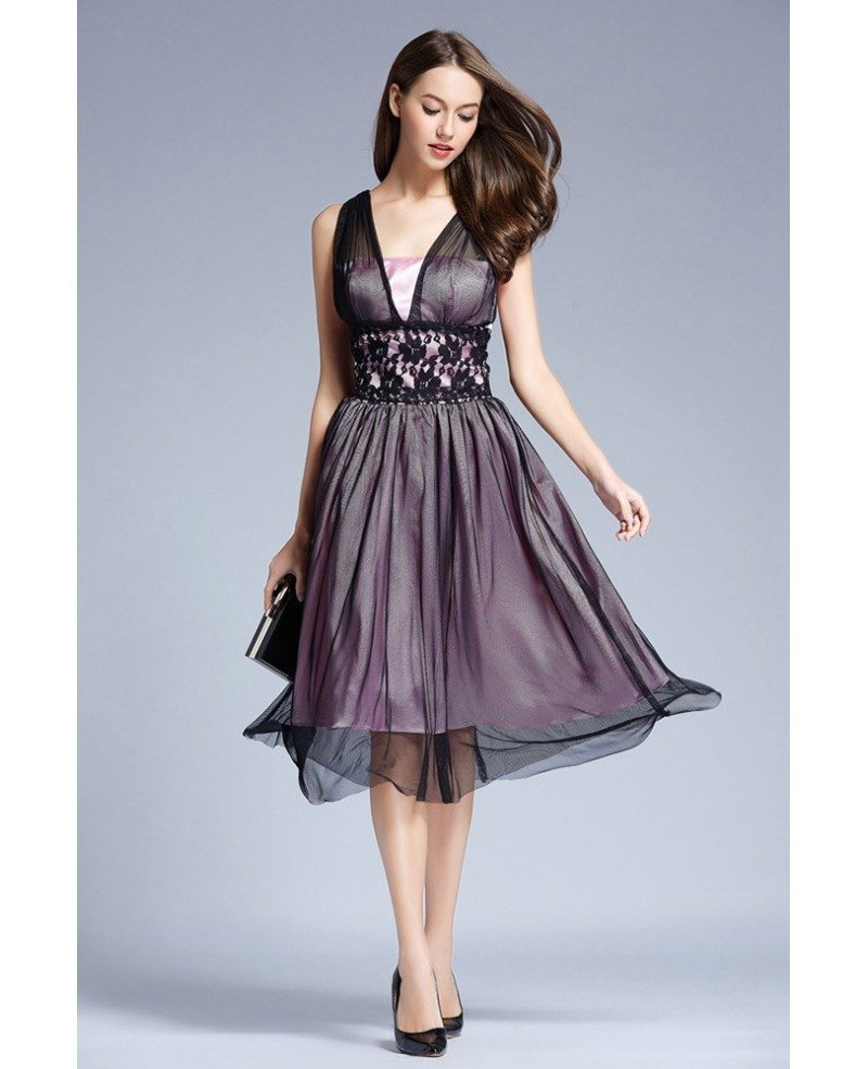 Elegant tulle knee length wedding party dress with lace for Elegant wedding party dresses