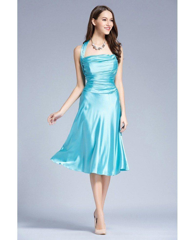 Stylish Halter Satin Tea-Length Wedding Guest Dress With Ruffle ...