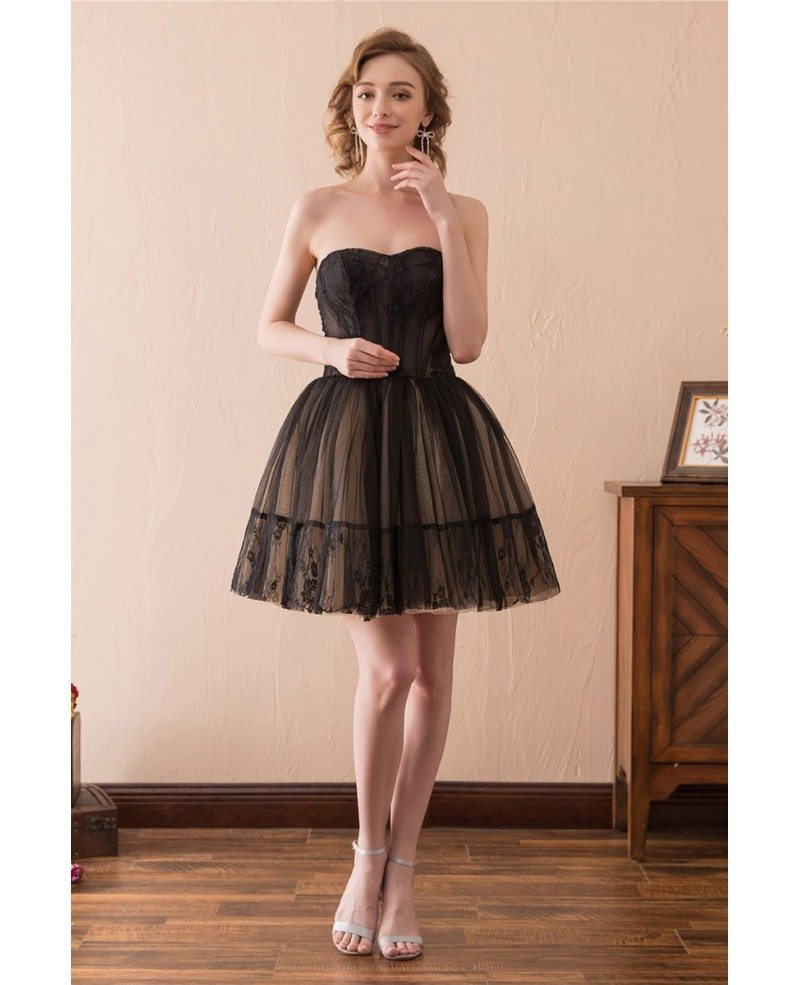Black Short Tulle Prom Dress Strapless With Lace Trim # ... - photo#22