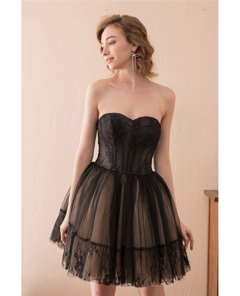 Black Short Tulle Prom Dress Strapless With Lace Trim # ... - photo#28