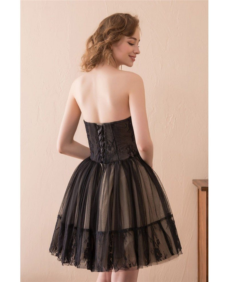Black Short Tulle Prom Dress Strapless With Lace Trim # ... - photo#34