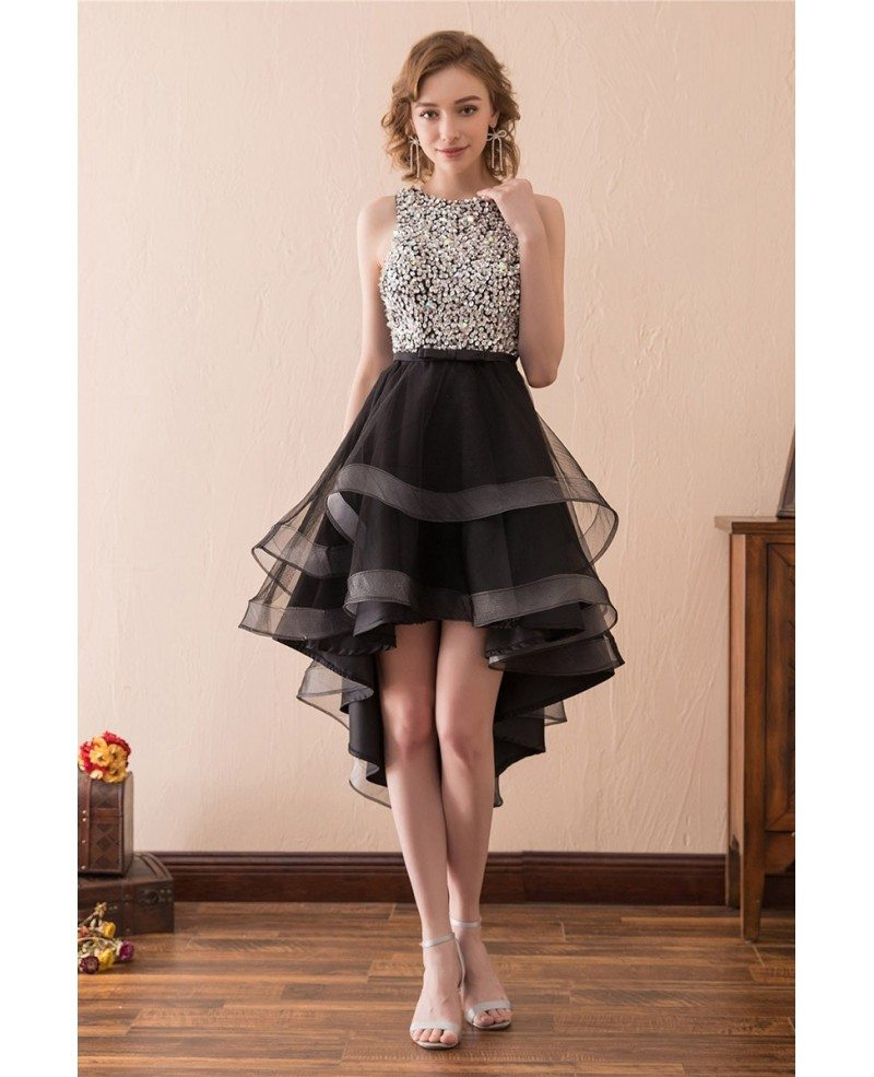 2018 high low black prom dress with sparkly bodice for