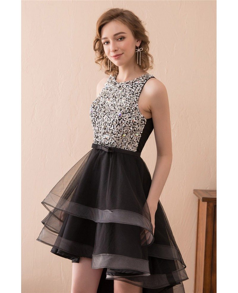 2018 High Low Black Prom Dress With Sparkly Bodice For Teens #CH6670 ...