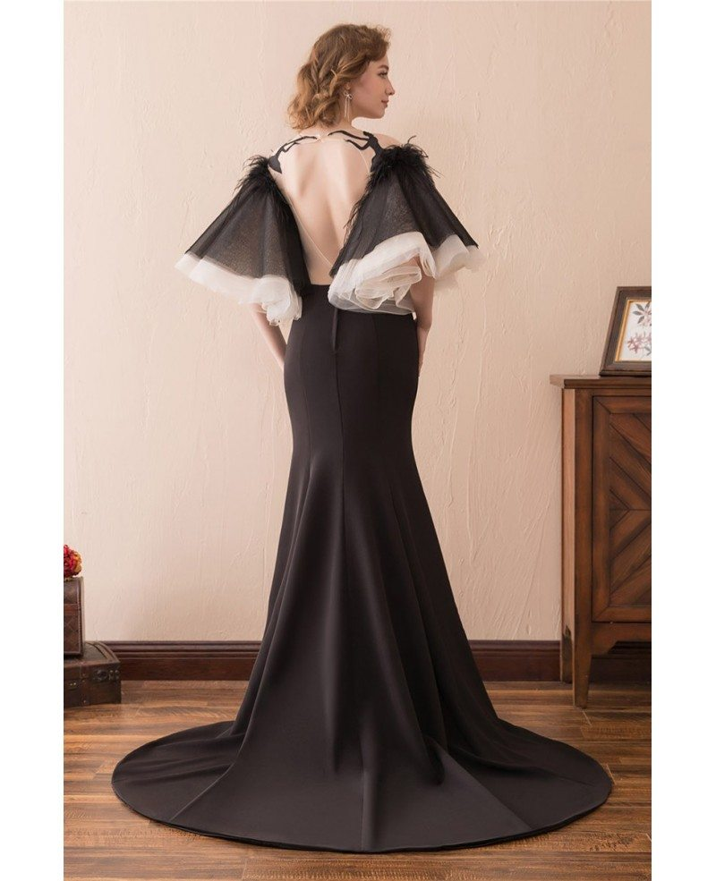 unique black long trumpet formal dress with puffy sleeves