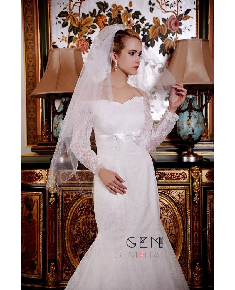 Mermaid off the shoulder court train lace satin wedding for Off the shoulder satin wedding dress