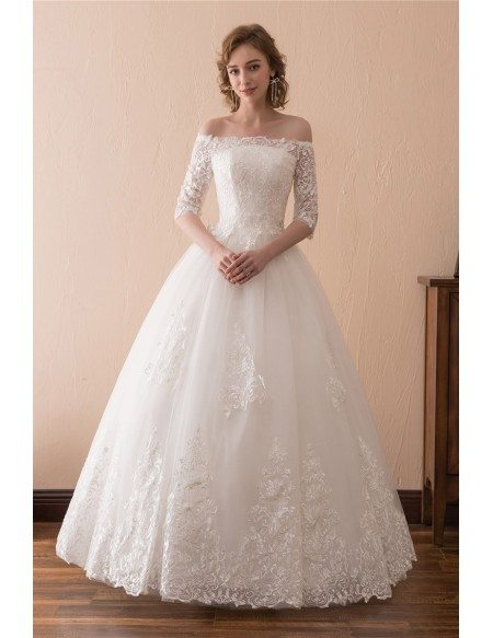 Off the shoulder lace ballroom wedding dress with 12 sleeves grace love off the shoulder lace ballroom wedding dress with 12 sleeves junglespirit Image collections
