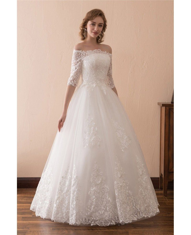 Off The Shoulder Lace Ballroom Wedding Dress With 1 2