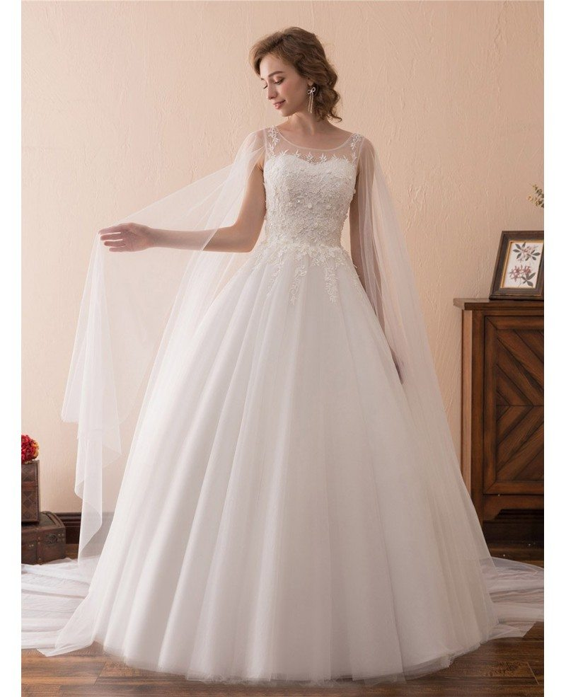 wedding dresses simple simple tulle lace ballroom wedding gowns with cape 9411