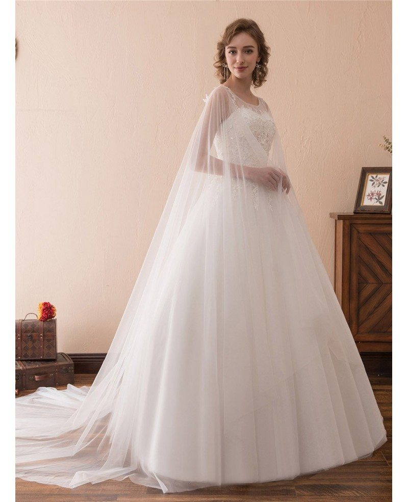 Simple tulle lace ballroom wedding gowns with cape train for Wedding dress with cape train