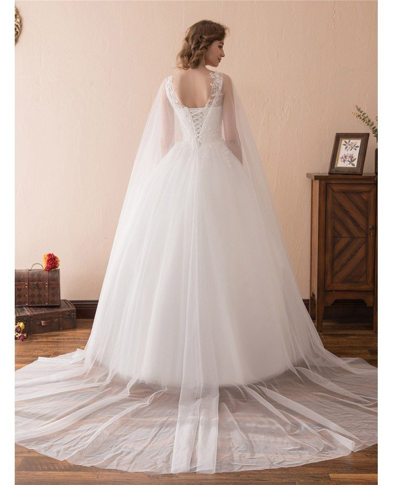 Ballroom Gown Wedding Dresses: Simple Tulle Lace Ballroom Wedding Gowns With Cape Train