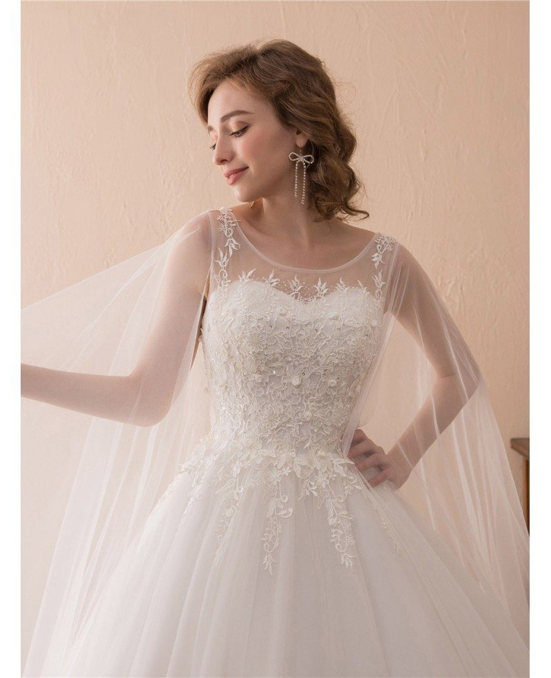 Simple Tulle Lace Ballroom Wedding Gowns With Cape Train