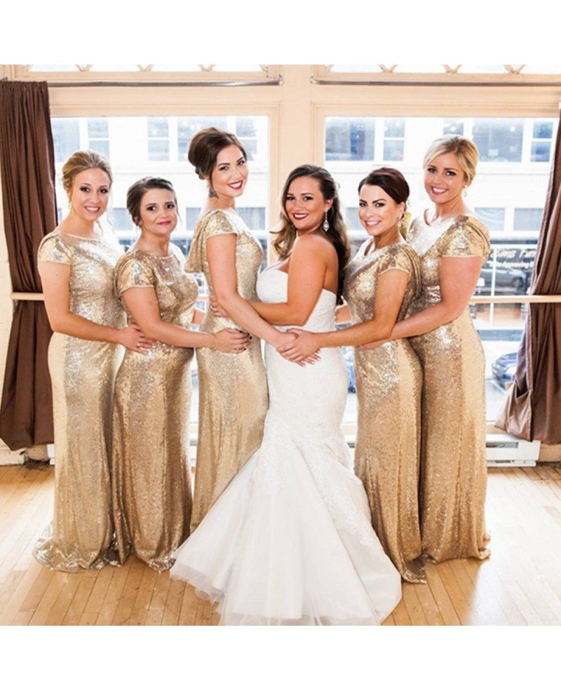 Elegant long gold sequin bridesmaid dresses under 100 for wedding elegant long gold sequin bridesmaid dresses under 100 for wedding with short sleeves cowl back ombrellifo Choice Image