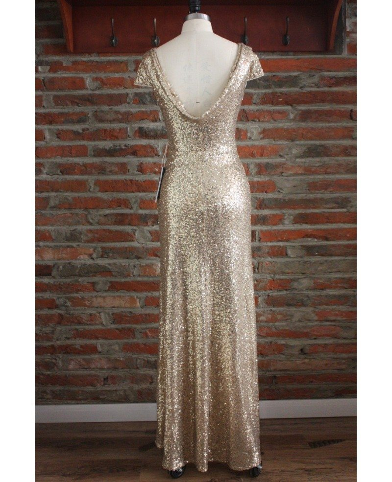 Elegant long gold sequin bridesmaid dresses under 100 for for Long wedding dresses under 100