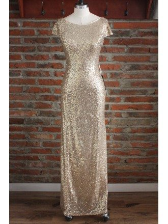 Elegant Long Gold Sequin Bridesmaid Dresses Under 100 For Wedding With Short Sleeves Cowl Back