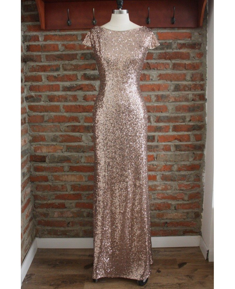 Elegant long gold sequin bridesmaid dresses under 100 for wedding elegant long gold sequin bridesmaid dresses under 100 for wedding with short sleeves cowl back ombrellifo Gallery
