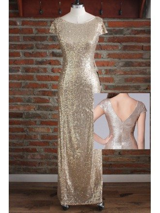 Gorgeous Sheath Long Gold Sequin Formal Bridesmaid Dresses With Sleeves Open Back