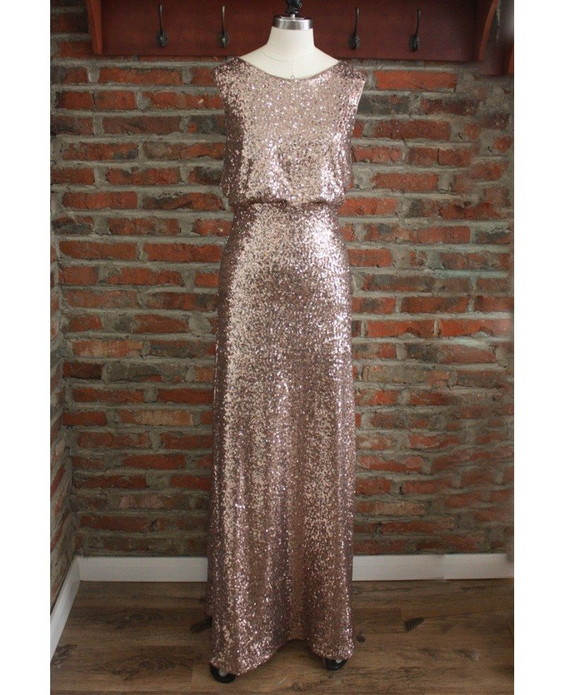 Cheap formal gold sparkly bridesmaid dresses long sequin for Long wedding dresses under 100
