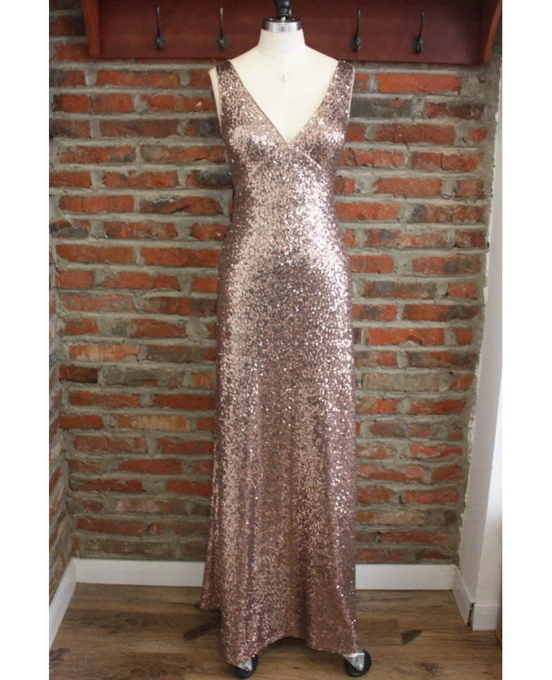 sexy backless sparkly gold prom dresses long formal dress with v
