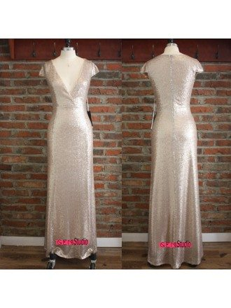 Gorgeous Sparkly Gold Long Formal Evening Dress Cap Sleeves With Sexy V-neck