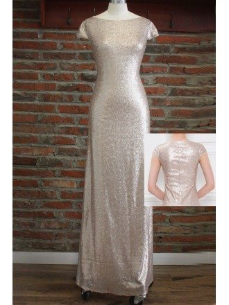 Modest Gold Sequin Long Bridesmaid Dresses With Cap Sleeves For Weddings