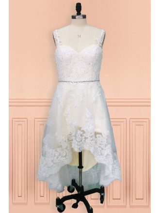 Country Chic High Low Lace Short Wedding Dress with Straps Perfect for Rustic Weddings