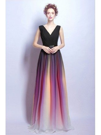 Ombre Iridescent Long Prom Dress With Pleated Black Top