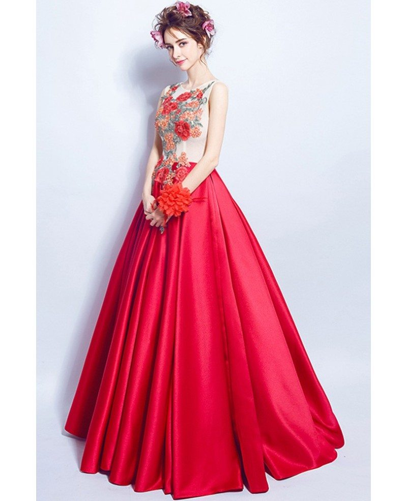 Unique Red Satin Formal Gown Dress Long With Applique Flowers ...