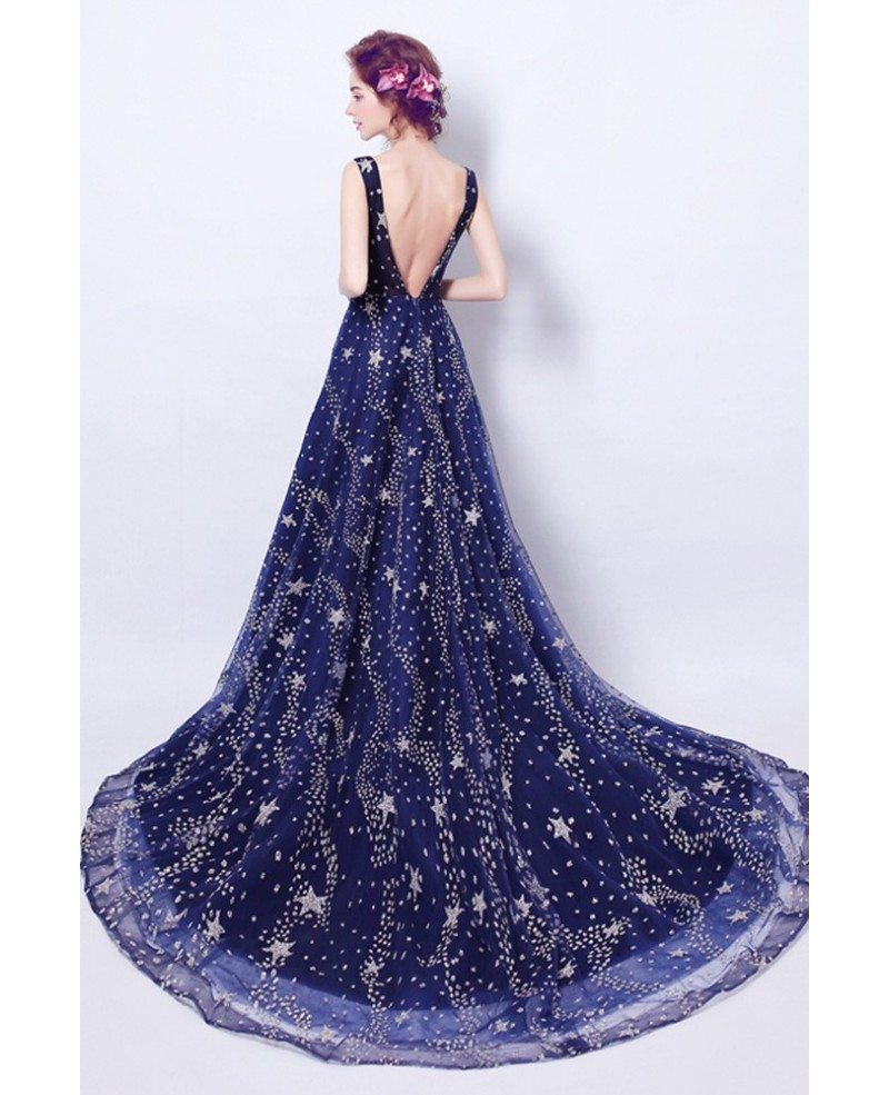 sparkly dark blue long formal dress with stars train