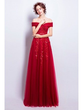 Elegant Lace Tulle Red Party Dress With Off Shoulder Sleeves