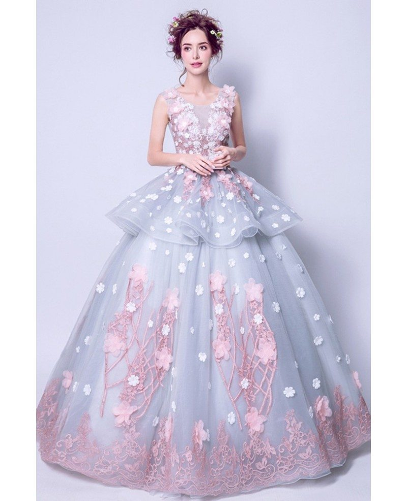 Grey Pink Ball Gown Quinceanera Prom Dress Long With Florals ...