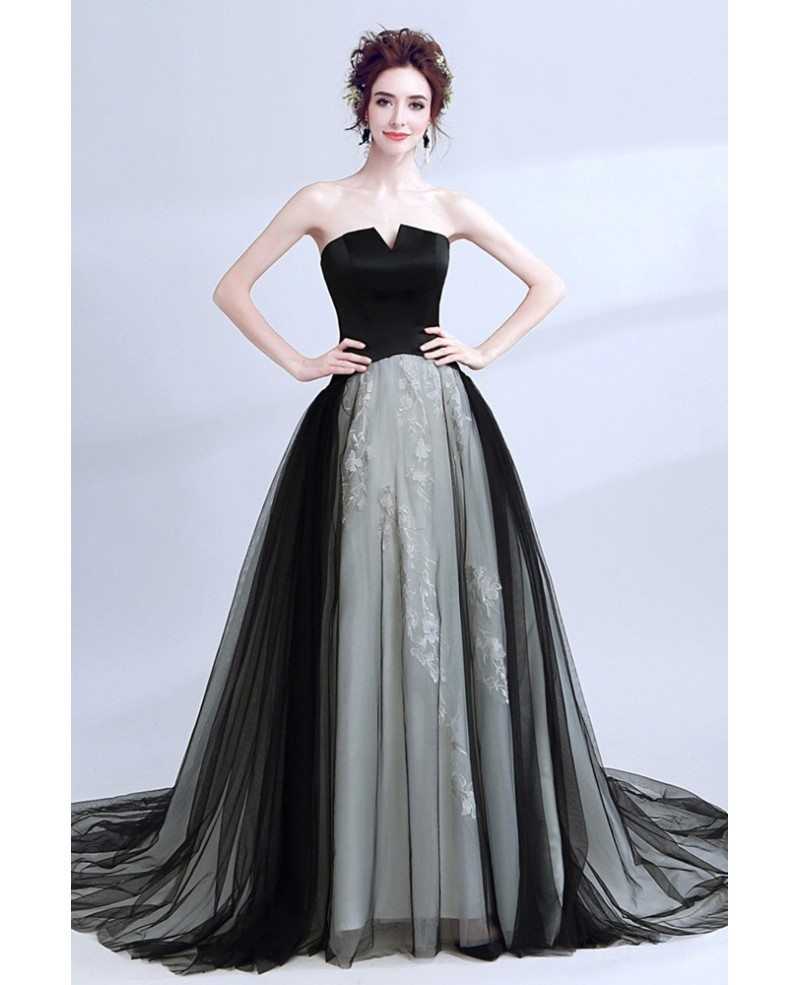 Strapless Black Long Prom Gowns With Grey Lace #AGP18039 - GemGrace.com