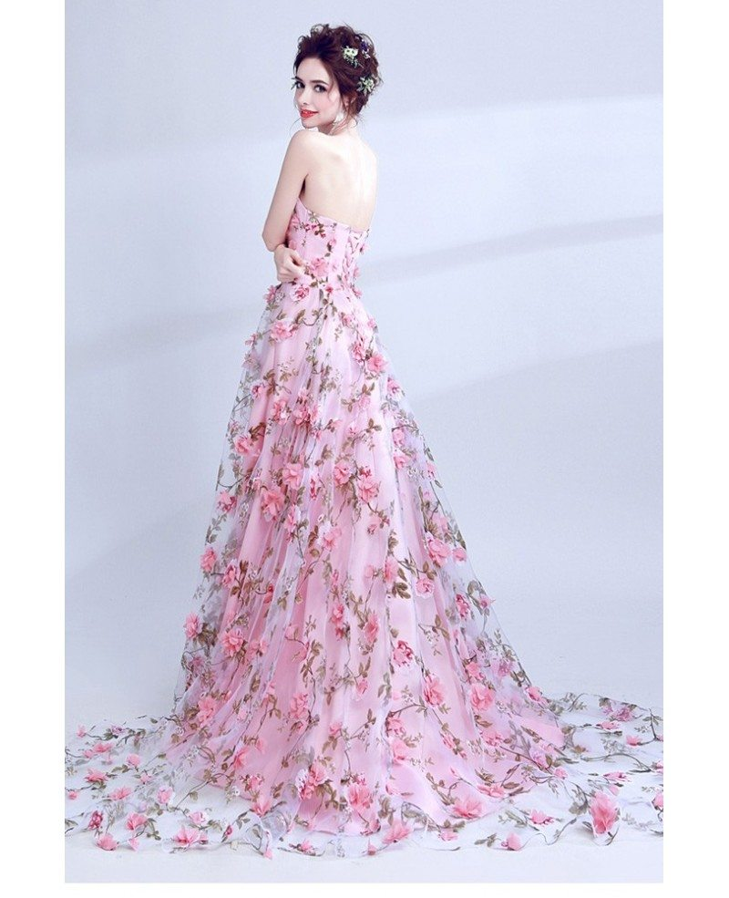 fairy pink floral printed prom dress strapless long for