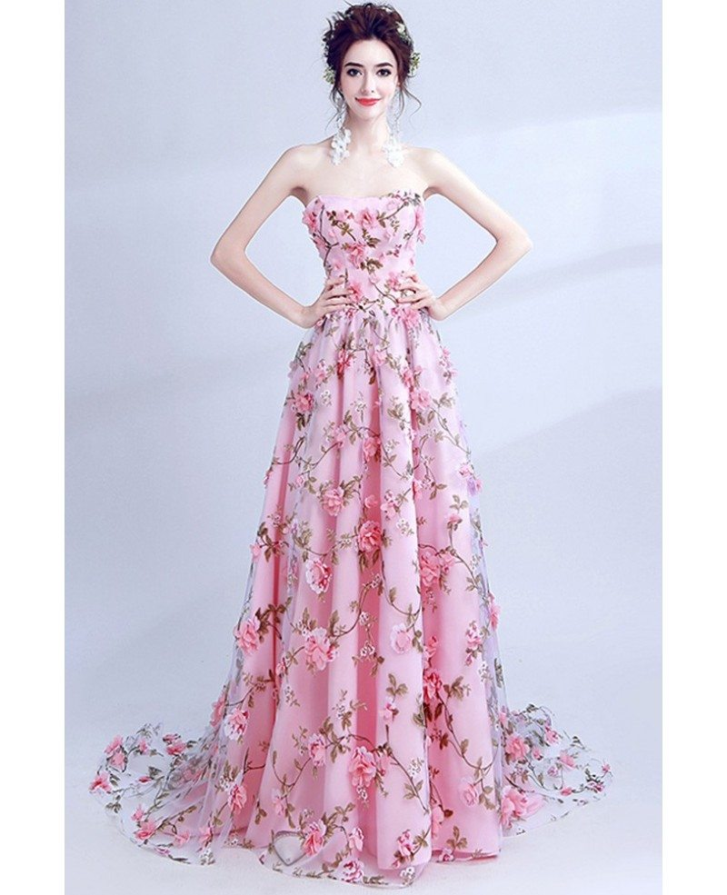 Fairy Pink Floral Printed Prom Dress Strapless Long For Teens ...