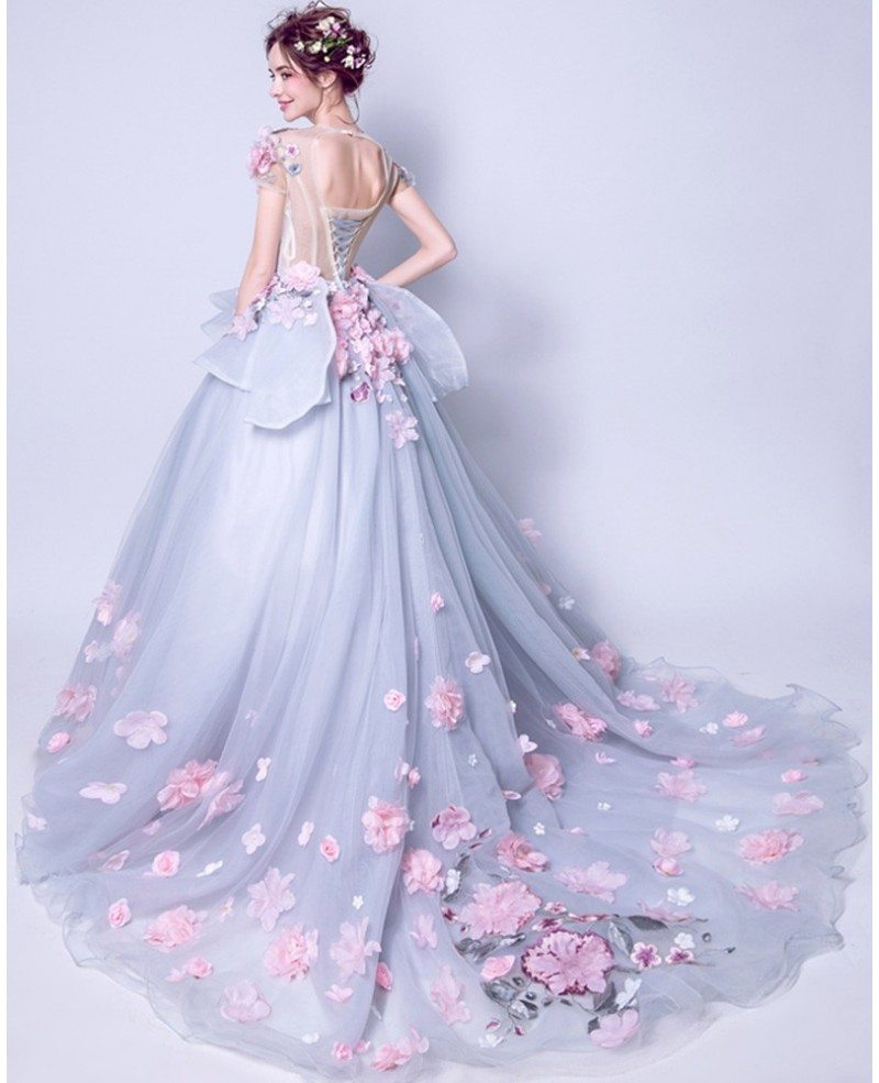 Juniors Grey With Pink Floral Prom Dress With Big Ball Gown