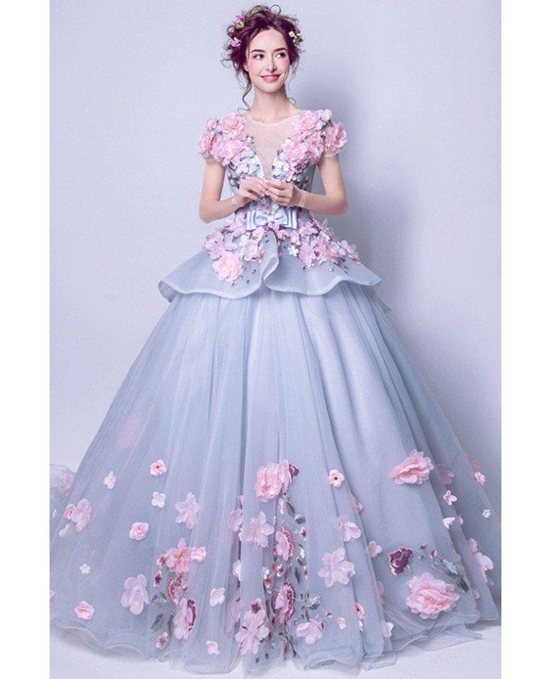 Junior\'s Grey With Pink Floral Prom Dress With Big Ball Gown ...