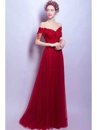 Off Shoulder Burgundy Long Tulle Evening Dress With Lace Beading