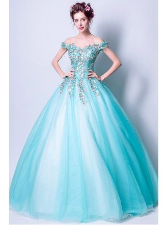 Off Shoulder Aqua Blue Prom Dress Ball Gown With Special Lace