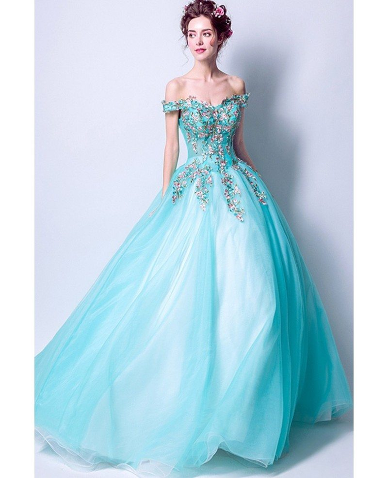 Off Shoulder Aqua Blue Prom Dress Ball Gown With Special Lace ...