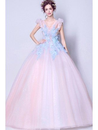 Pink Ballroom Quinceanera Prom Gown With Blue Lace For Teens