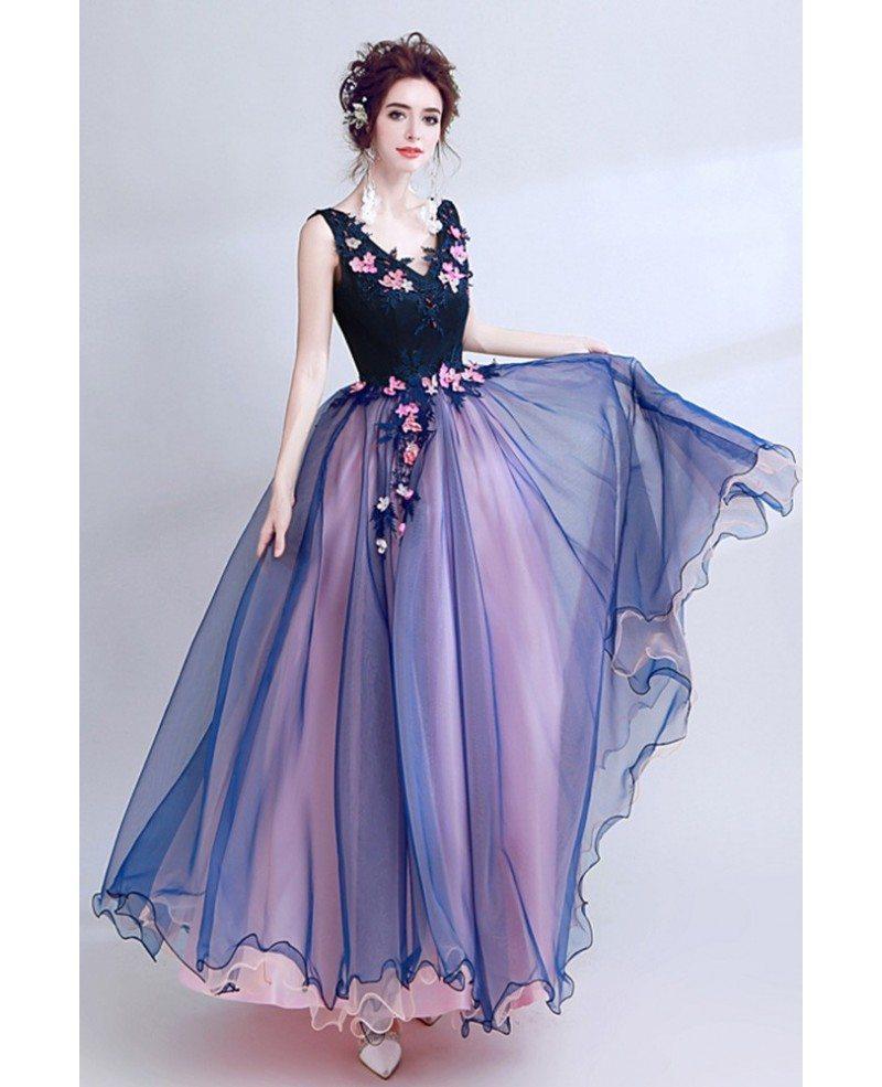 Dark Navy Blue Floral Prom Dress Long V-neck For Juniors #AGP18070 ...