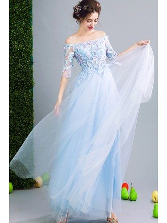 Fairy Blue Floral Prom Dress Beaded With Off Shoulder Sleeves