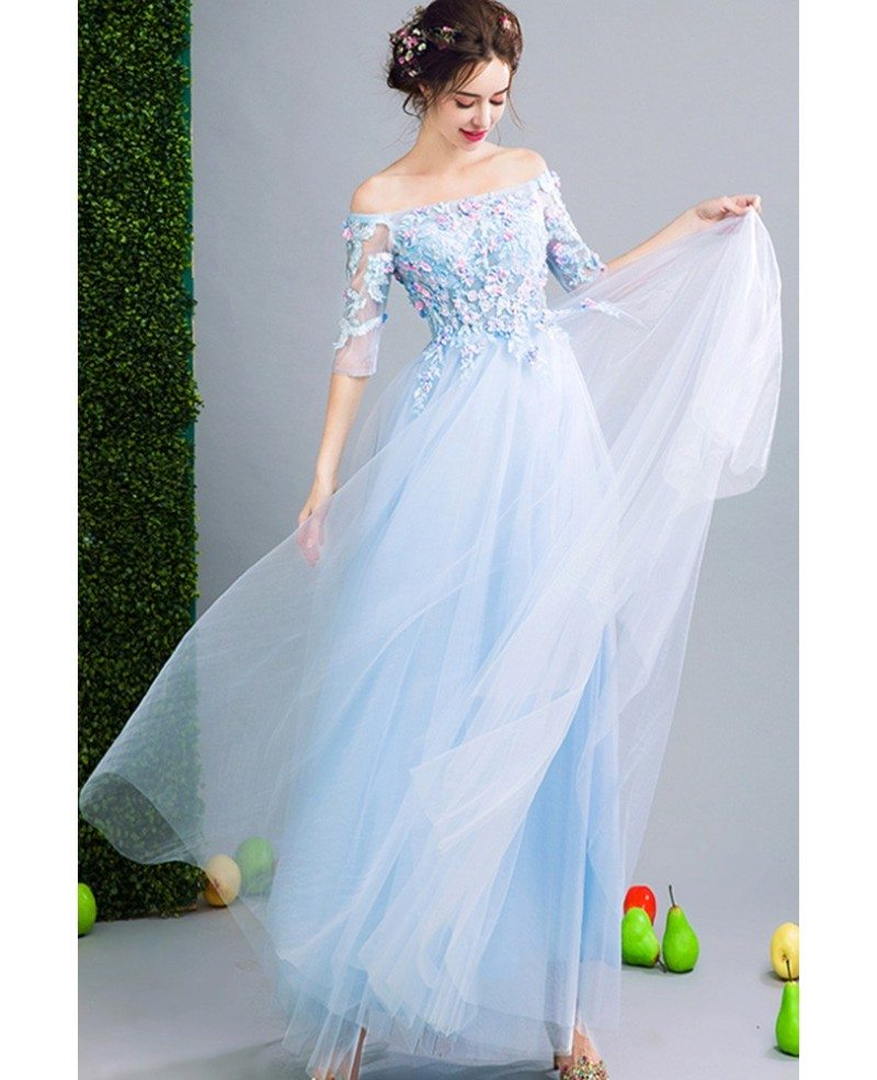 Fairy Blue Floral Prom Dress Beaded With Off Shoulder Sleeves ...