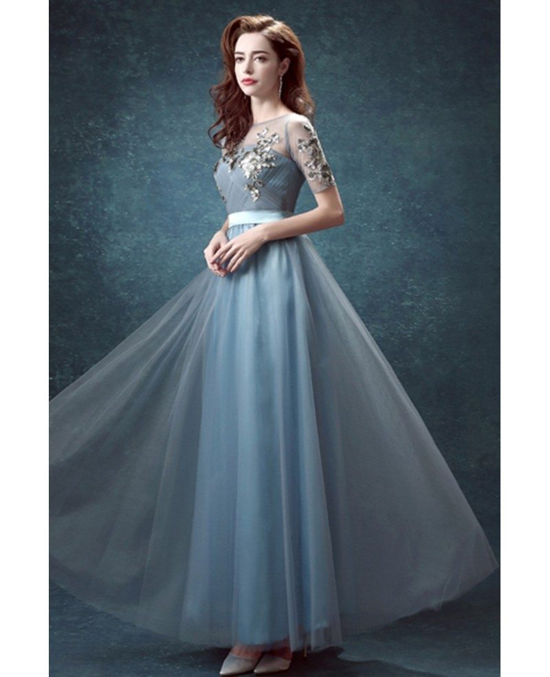 Sequined Applique Ink Blue Prom Dress Long With Short Sleeves ...