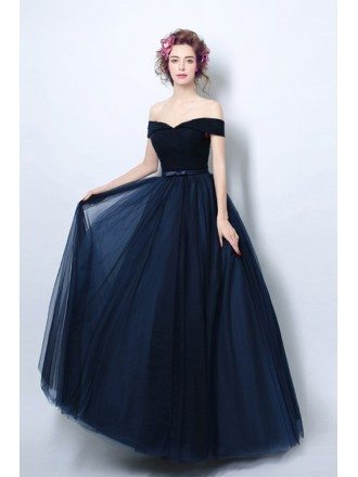 Simple Pleated Dark Navy Blue Formal Dress With Off Shoulder Straps