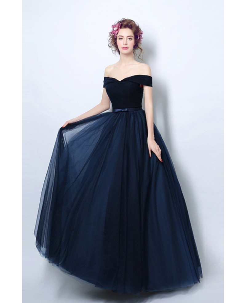 Simple Pleated Dark Navy Blue Formal Dress With Off Shoulder Straps ...