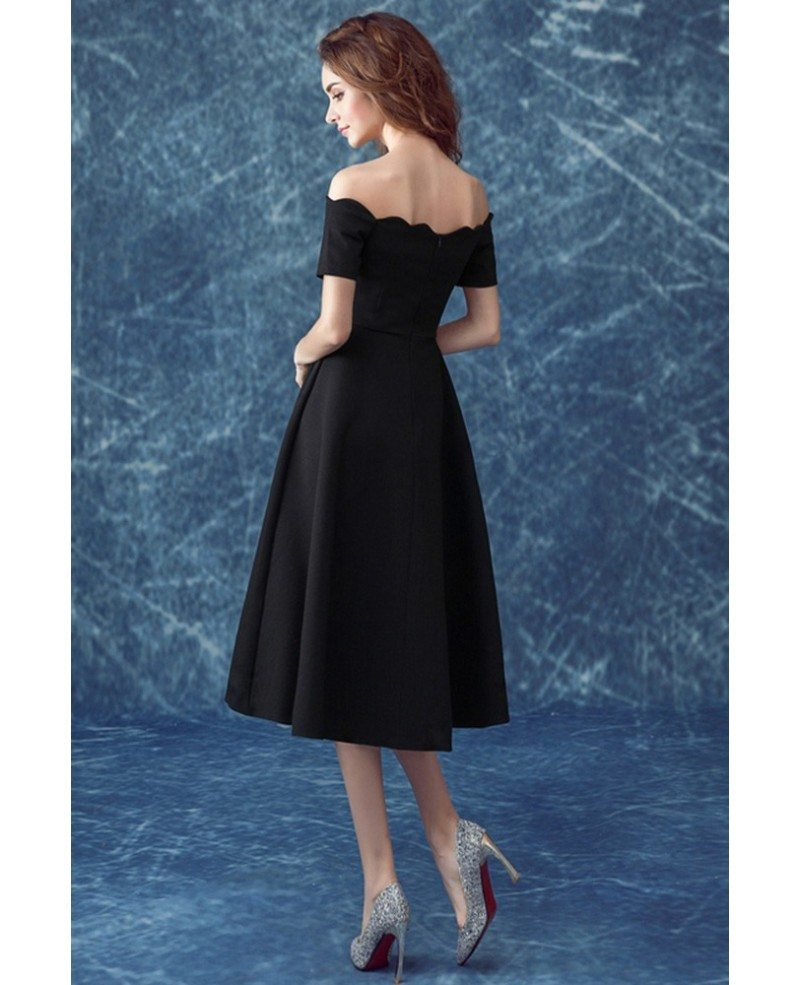 Midi Simple Black Formal Dress With Off The Shoulder Sleeves ...