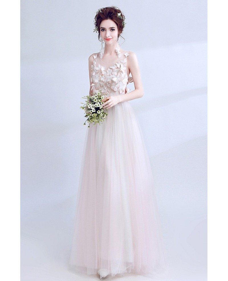 Sleeveless Blush Pink Long Prom Dress With Butterfly Bodice